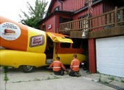 Wienermobile crashes into house